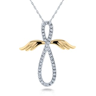 Annello 10k White and Yellow Gold 1/5ct TDW Diamond Angel Wings Cross Necklace (H-I, I2)