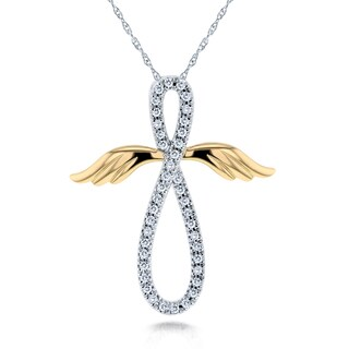Annello by Kobelli 10k White and Yellow Gold 1/5ct TDW Diamond Angel Wings Cross Necklace