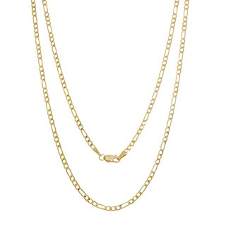 Sterling Essentials 14K Italian Gold 2.5 mm Concave Figaro Chain (16-30 inches)