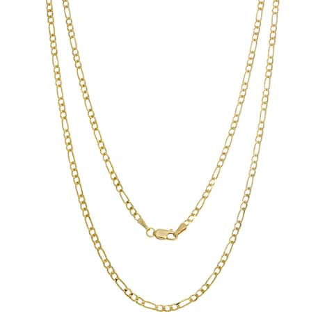14K Yellow Gold Italian 2.5 mm Concave Figaro Chain (16-30 inches)
