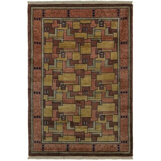 Safavieh One of a Kind Collection Hand-Knotted Tibetan Natural/ Assorted Wool Rug (6' x 9')