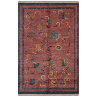 Safavieh One of a Kind Collection Hand-Knotted Tibetan Red/ Multi Wool Rug (6' x 9')
