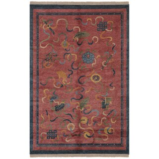 Safavieh One of a Kind Collection Hand-Knotted Tibetan Red/ Multi Wool Rug (6' x 9') - 0