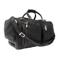 Piel Leather 20-inch Carry-On Rolling Duffel Bag with Pockets