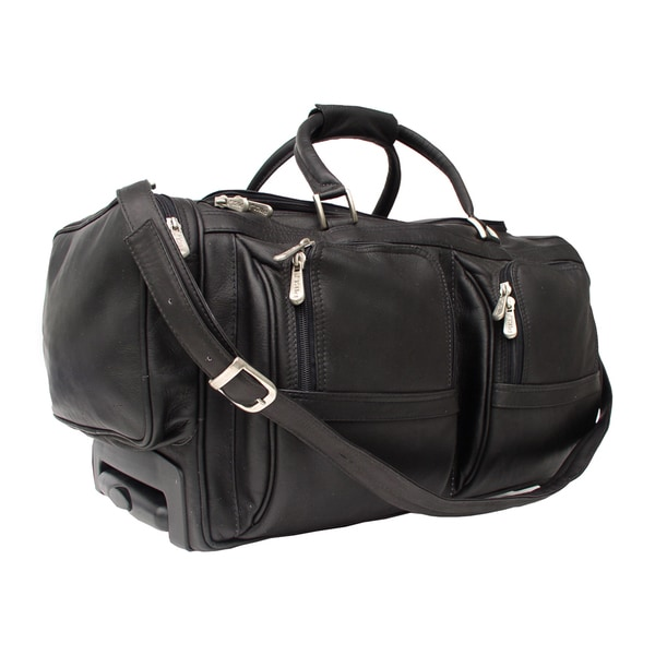 Shop piel leather 20 inch carry on rolling duffel bag with pockets free shipping today for Leather luggage wheeled duffel