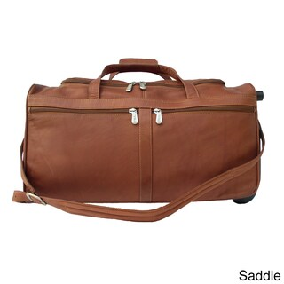Piel Leather 21-inch Rolling Duffel Bag (Option: Brown)
