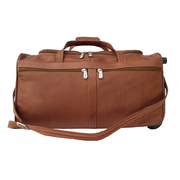 Shop piel leather 21 inch rolling duffel bag free shipping today 10948610 for Leather luggage wheeled duffel
