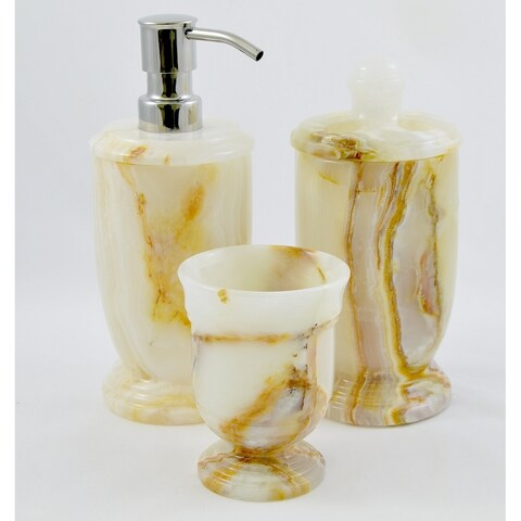 Nature Home Decor White Onyx 3-Piece Bathroom Accessory Set of Atlantic Collection