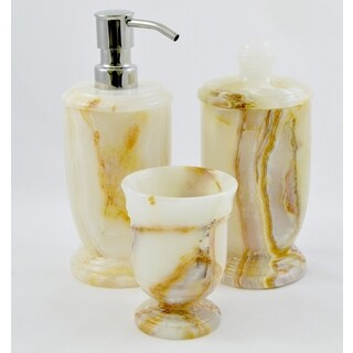 Nature Home Decor White Onyx 3-Piece Bathroom Accessory Set of Atlantic Collection