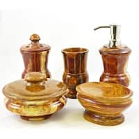 Nature Home Decor Multi Brown Onyx 5-Piece Bathroom Accessory Set of Mediterranean Collection.