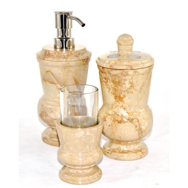 Nature Home Decor Sahara Beige Marble 3-Piece Bathroom Accessory Set of Mediterranean Collection.