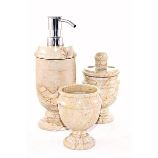 Nature Home Decor Sahara Beige Marble 3-Piece Bathroom Accessories Set of Siberian Collection.