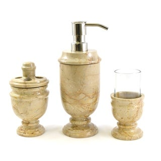 Nature Home Decor Sahara Beige Marble 3-Piece Bathroom Accessory Set of Siberian Collection.