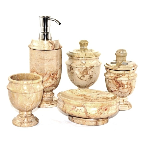 Nature home decor sahara beige marble 5 piece bathroom for Marble bathroom accessories