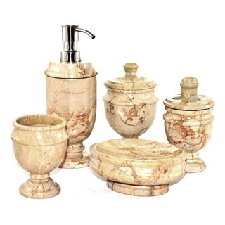 Nature Home Decor Sahara Beige Marble 5-Piece Bathroom Accessories Set of Siberian Collection