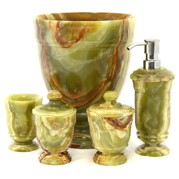 Nature Home Decor Classic Green Onyx 5-Piece Bathroom Accessory Set of Tasmanian Collection.