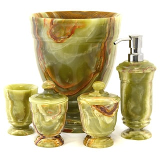 Nature Home Decor Classic Green Onyx 5 Piece Bathroom Accessory Set Of  Tasmanian Collection.