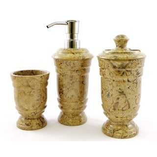 Nature Home Decor Fossil Stone 3-Piece Bathroom Accessory Set of Tasmanian Collection