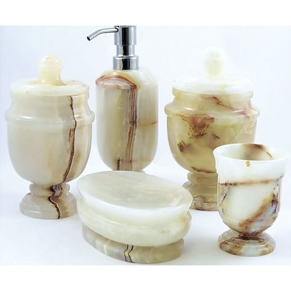 nature home decor tasmanian collection white onyx 5-piece bathroom
