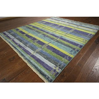 Shack in The Wood Multicolor Hand-knotted Wool Modern Area Rug (9' x 10')