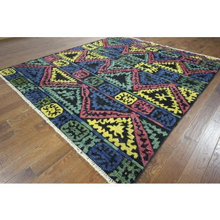 H8818 Blue Hand-knotted Wool South Western Design Kaitag Area Rug (9' x 10')