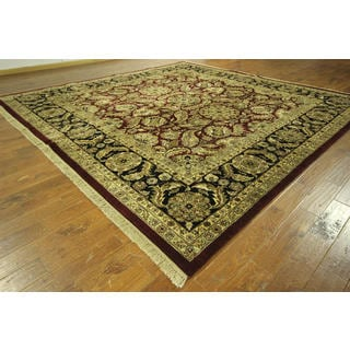 H8845 Red and Black Hand-knotted Wool Floral Square Rajasthani Area Rug (12' x 12')