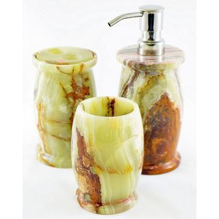 Nature Home Decor Multi Green Onyx 3-Piece Bathroom Accessory Set of Pacific Collection