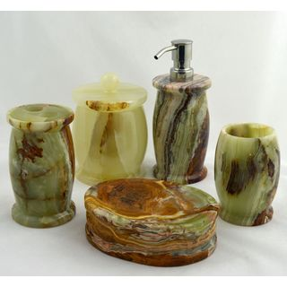 Nature Home Decor Bathroom Accessories 5 Piece Set of Multi Green Onyx