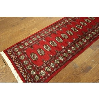 H7803 Bokhara Collection Red Hand-knotted Wool Oriental Runner Rug (3' x 15')