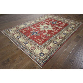 H9045 Red/ Ivory Hand-knotted Wool Geometric Oriental Super Kazak Area Rug (6' x 9')