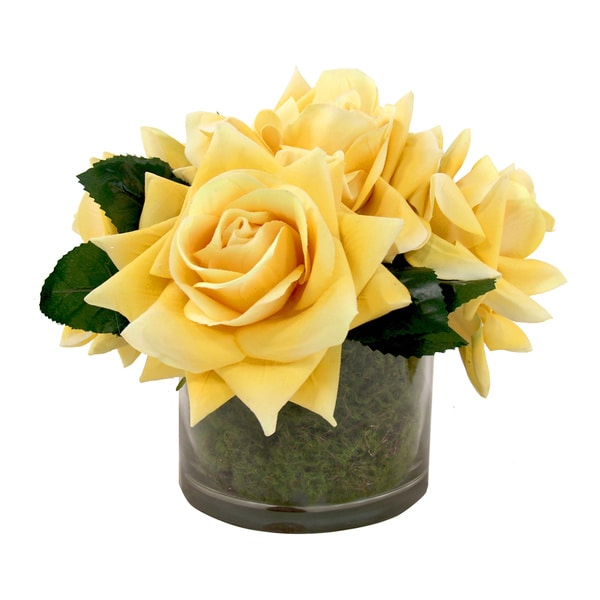 Yellow Rose Silk Bouquet In Moss Vase