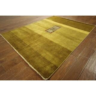 H7280 Earth-tone Hand-knotted Wool Mini Kazak Design Persian Gabbeh Area Rug (5' x 6')