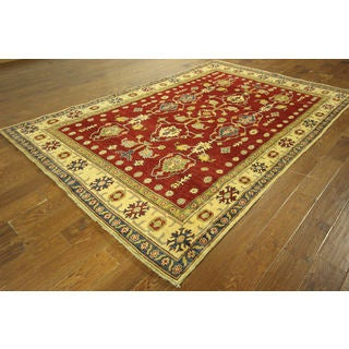 H9065 Red Geo-floral Hand-knotted Wool Super Kazak Area Rug (6' x 10')