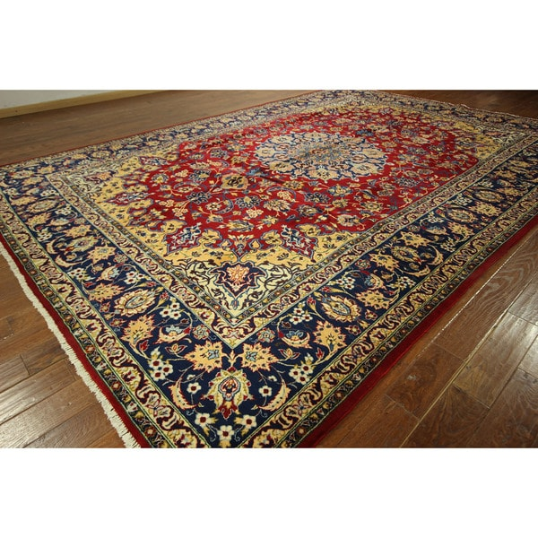 Hand Knotted Persian Isfahan Wool Area Rug: Shop GT52 Red/ Blue Hand-knotted Super Fine Isfahan