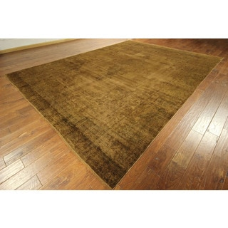 Overdyed Brown Mocha Authentic Antique Persian Kerman Area Rug (9'10 x 13'2)