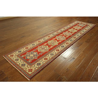 H3369 Red Super Fine Persian Hand-knotted Wool Geometric Runner Rug (3' x 11')