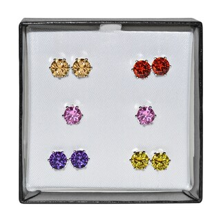 Surgical Steel and Silvertone Multicolor 5-mm Cubic Zirconia Stud 5-pair Earring Set