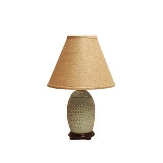 Crown Lighting 1-light Celadon Green Distressed Glaze Ceramic Table Lamp