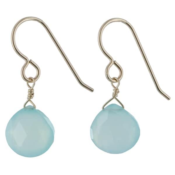 Aqua Blue Chalcedony Gemstone 14K GF Dangle Handmade Gold Earrings. Opens flyout.