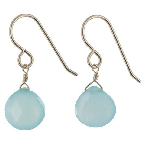 Handmade Ashanti Aqua Blue Chalcedony Natural Gemstone 14K Yellow Gold Filled Dangle Handmade Earrings (Sri Lanka)