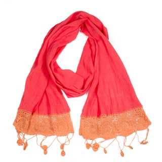 Cayenne Dyed Cotton Crochet Scarf (India)