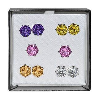 Surgical Steel and Silvertone Multicolor 9-mm Cubic Zirconia Stud 5-pair Earring Set