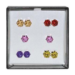 Surgical Steel and Silvertone Multicolor 6-mm Cubic Zirconia Stud 5-pair Earring Set