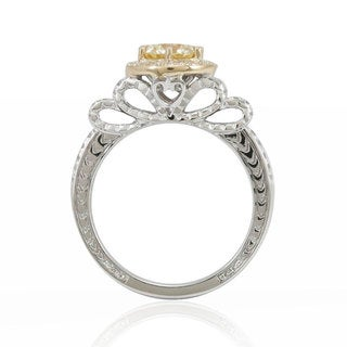Suzy Levian 14K White Gold Diamond Yellow Centerstone Ring