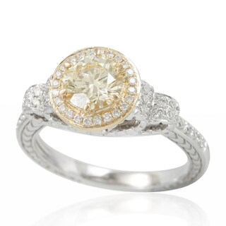 Suzy Levian 14K White Gold Diamond Yellow Centerstone Ring (5 options available)