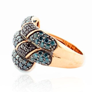 Suzy Levian 14K Rose Gold and Diamond Crossover Ring