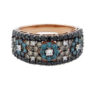 Suzy Levian 14K Rose Gold and Color Diamond Mosaic Ring