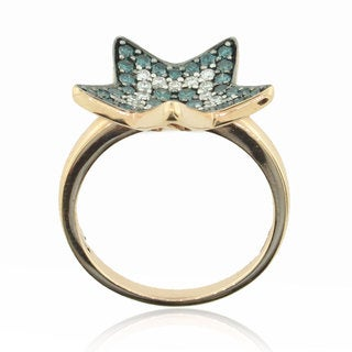 Suzy Levian 14K Rose Gold and Blue and White Diamond Star Ring
