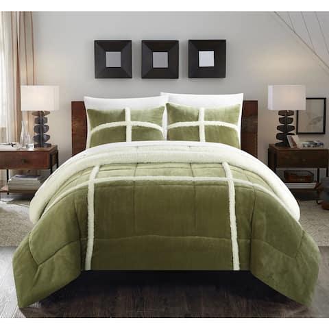 Copper Grove Bienville Green Mink Sherpa Lined 3-piece Comforter Set