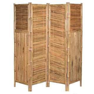 Handmade Bamboo 4-panel Diagonal Privacy Screen (Vietnam)